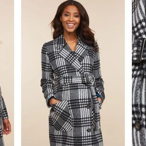 Button Front Wool Maternity Peacoat